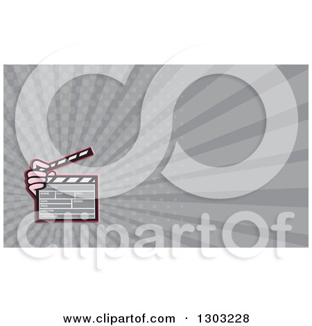 Clipart of a Cartoon Hand Holding a Clapperboard and Gray Rays Background or Business Card Design - Royalty Free Illustration by patrimonio