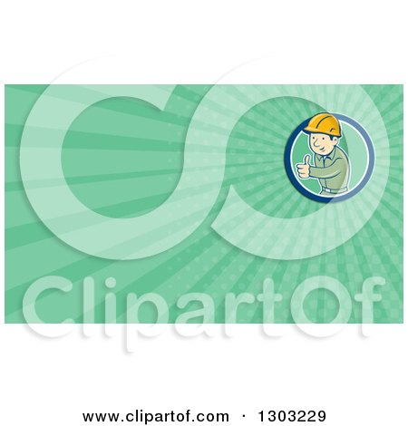 Clipart of a Retro Cartoon White Male Construction Worker Foreman Giving a Thumb up and Green Rays Background or Business Card Design - Royalty Free Illustration by patrimonio