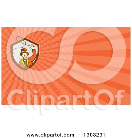 Clipart of a Retro Circus Ringmaster Using a Bull Whip and Orange Rays Background or Business Card Design - Royalty Free Illustration by patrimonio