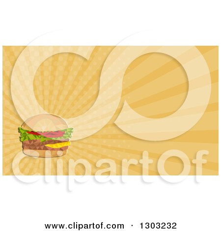 Clipart of a Retro Low Polygon Geometric Hamburger and Pastel Orange Rays Background or Business Card Design - Royalty Free Illustration by patrimonio