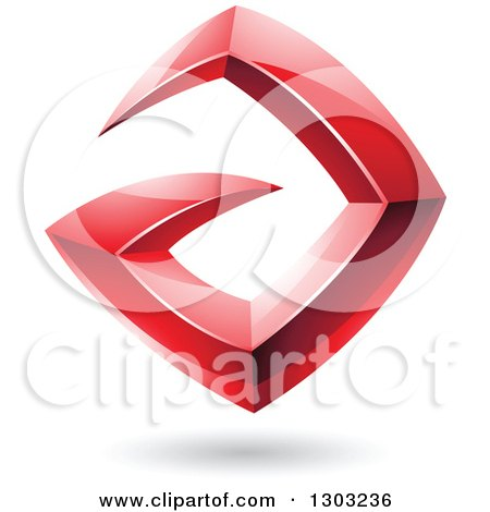 Clipart of a 3d Shiny Abstract Floating Sharp Red Letter A, with a Shadow on White - Royalty Free Vector Illustration by cidepix