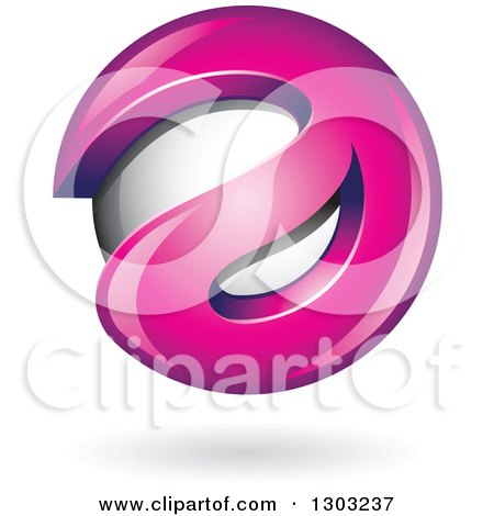 Clipart of a 3d Shiny Abstract Pink Letter a Around a Floating Sphere, with a Shadow on White - Royalty Free Vector Illustration by cidepix