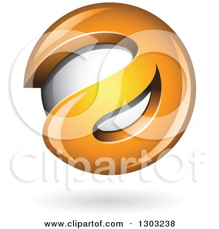Clipart of a 3d Shiny Abstract Orange Letter a Around a Floating Sphere, with a Shadow on White - Royalty Free Vector Illustration by cidepix