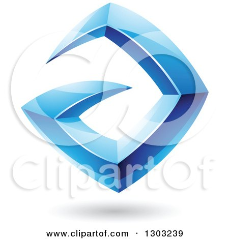 Clipart of a 3d Shiny Abstract Floating Sharp Blue Letter A, with a Shadow on White - Royalty Free Vector Illustration by cidepix