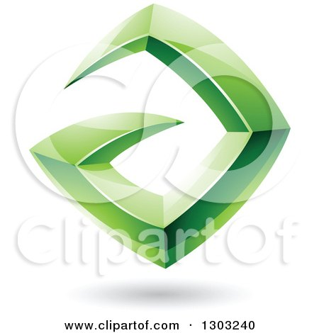 Clipart of a 3d Shiny Abstract Floating Sharp Green Letter A, with a Shadow on White - Royalty Free Vector Illustration by cidepix