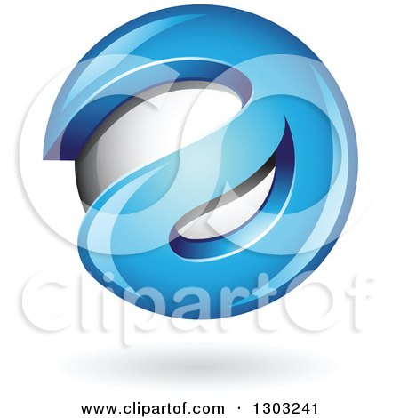 Clipart of a 3d Shiny Abstract Blue Letter a Around a Floating Sphere, with a Shadow on White - Royalty Free Vector Illustration by cidepix