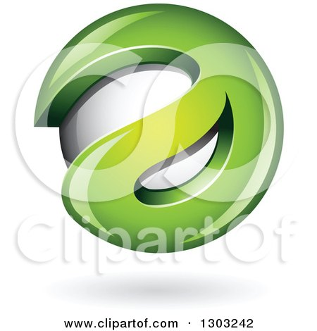 Clipart of a 3d Shiny Abstract Green Letter a Around a Floating Sphere, with a Shadow on White - Royalty Free Vector Illustration by cidepix