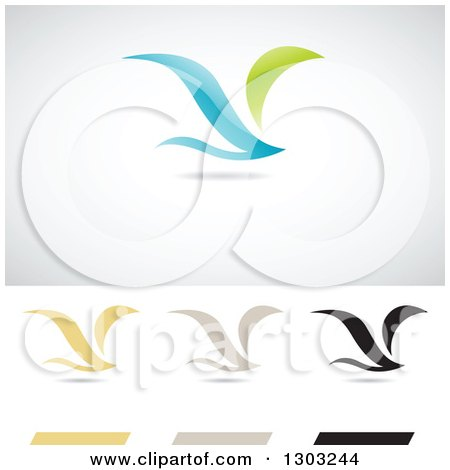 Clipart of Flying Birds or Wings Logos with Shadows - Royalty Free Vector Illustration by cidepix