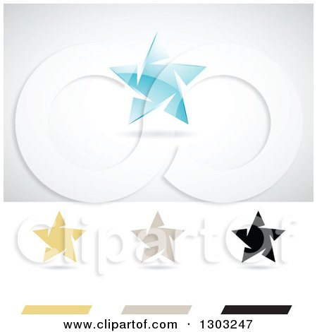 Clipart of Different Colored Ice Star Logos with Shadows - Royalty Free Vector Illustration by cidepix