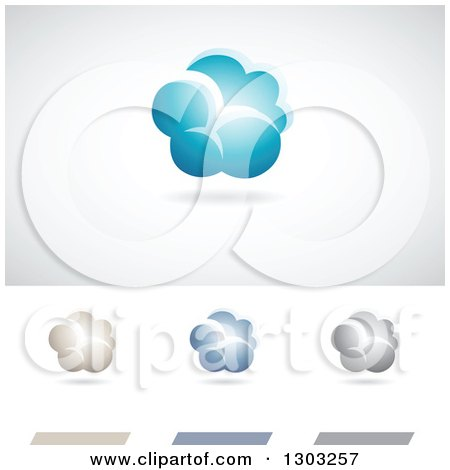 Clipart of Cloud Weather or Computing Logos with Shadows - Royalty Free Vector Illustration by cidepix