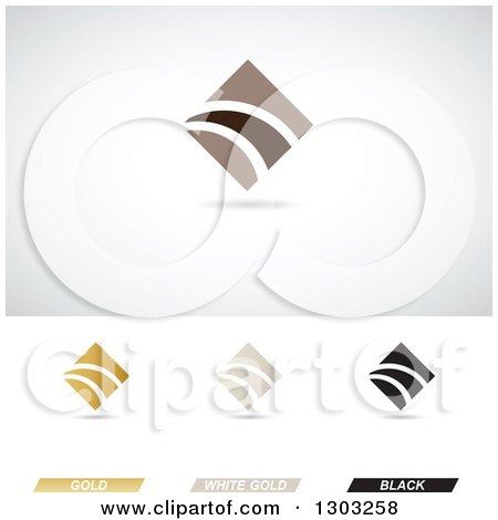 Clipart of Abstract Corporate Finance Diamond Themed Logos with Shadows - Royalty Free Vector Illustration by cidepix