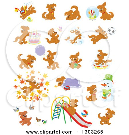 Clipart of Brown Playful Puppy Dogs - Royalty Free Vector Illustration by Alex Bannykh