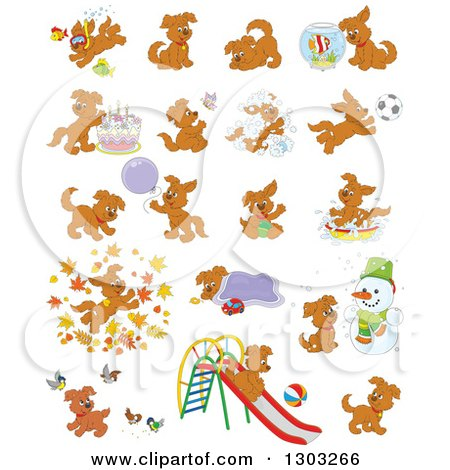 Clipart of Cartoon Brown Playful Puppy Dogs - Royalty Free Vector Illustration by Alex Bannykh