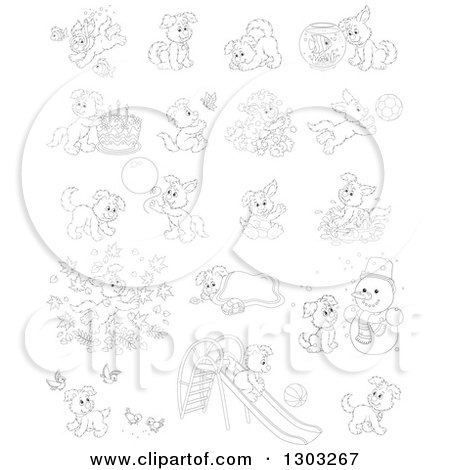 Lineart Clipart of Black and White Playful Puppy Dogs - Royalty Free Outline Vector Illustration by Alex Bannykh