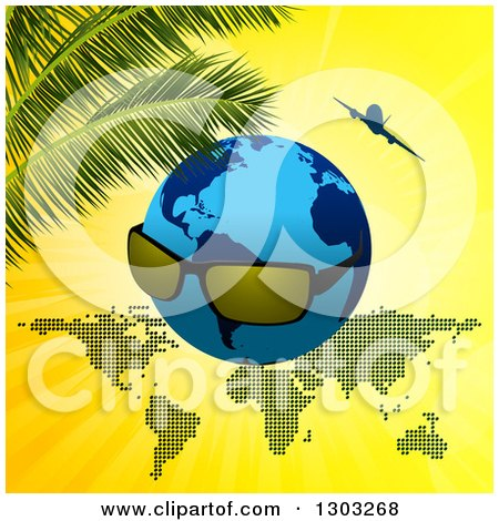 Clipart of a Blue Earth Globe with Sunglasses over a Map with an Airplane and Palm Branches on Yellow - Royalty Free Vector Illustration by elaineitalia