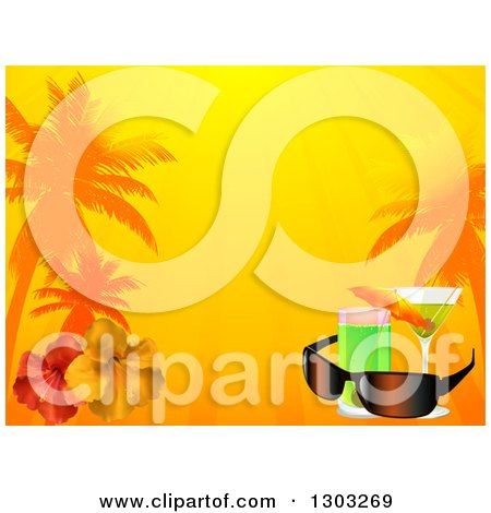 Clipart of a Tropical Vacation Background with Cocktails, Sunglasses, Hibiscus Flowers, Sunshine and Palm Trees - Royalty Free Vector Illustration by elaineitalia
