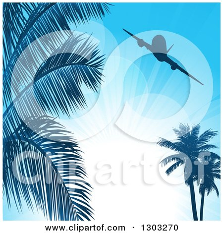 Clipart of a Silhouetted Airplane over Palm Trees and Sunshine on Blue - Royalty Free Vector Illustration by elaineitalia