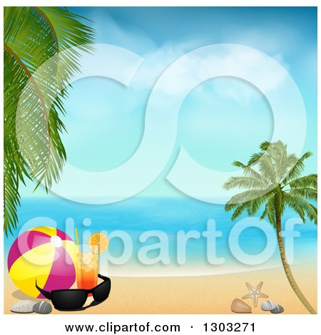 Clipart of a Cocktail with a Ball and Sunglasses on a Tropical Beach on a Beautiful Day - Royalty Free Vector Illustration by elaineitalia