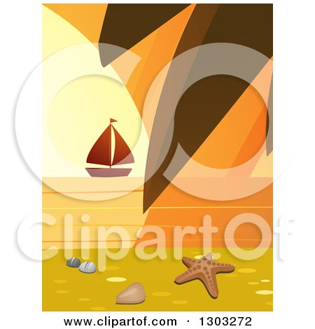 Clipart of a Starfish, Shell and Pebbles on a Beach with a Palm Branch and Sailboat at Sunset - Royalty Free Vector Illustration by elaineitalia
