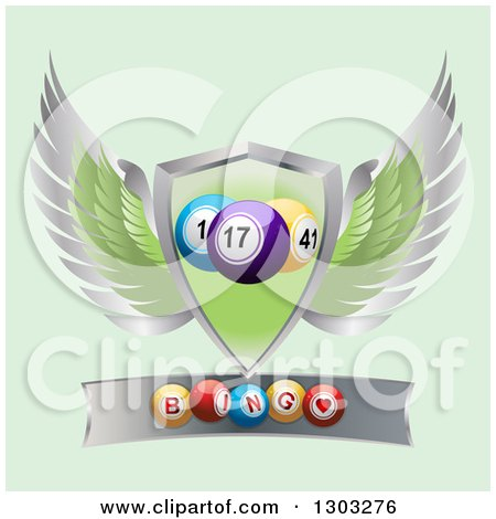 Clipart of 3d Bingo Balls on a Metal Banner Under a Winged Shield on Green - Royalty Free Vector Illustration by elaineitalia