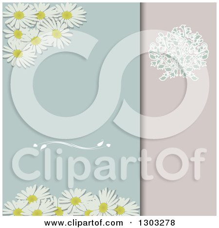 Clipart of a Daisy and Floral Divided Pastel Invitation Background - Royalty Free Vector Illustration by elaineitalia