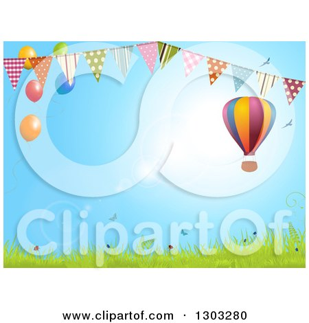 Clipart of a Colorful Hot Air Balloon over a Spring Landscape with a Bunting Banner and Party Balloons - Royalty Free Vector Illustration by elaineitalia