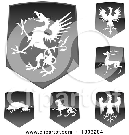 Clipart of Shiny Black Shields with White Silhouetted Heraldic Animals - Royalty Free Vector Illustration by BestVector