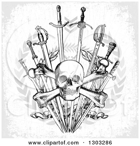 Clipart of a Black and White Skull and Crossbones over Swords, Wreaths and Gray Grunge - Royalty Free Vector Illustration by BestVector
