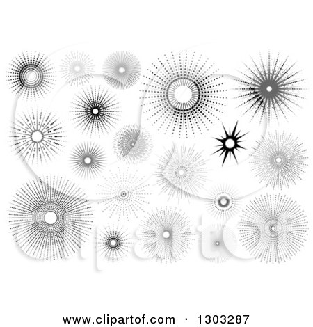 Clipart of Black and White Sun Burst Designs - Royalty Free Vector Illustration by dero