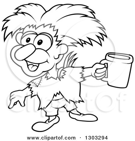 Lineart Clipart of a Black and White Cartoon Beggar Sprite Holding a Cup - Royalty Free Outline Vector Illustration by dero