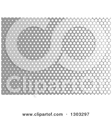 Clipart of a Gradient Halftone Dot Background of White and Gray - Royalty Free Vector Illustration by dero