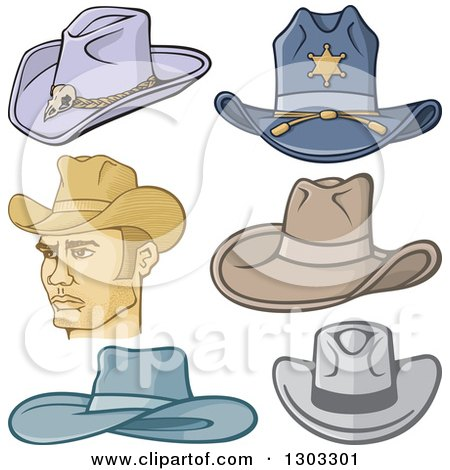 Clipart of a Cowboy and Hats - Royalty Free Vector Illustration by Any Vector