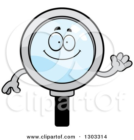 Clipart of a Cartoon Friendly Magnifying Glass Character Waving - Royalty Free Vector Illustration by Cory Thoman
