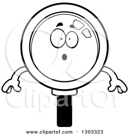 Lineart Clipart of a Cartoon Black and White Surprised Magnifying Glass Character Gasping - Royalty Free Outline Vector Illustration by Cory Thoman