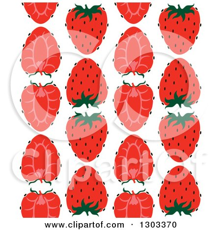 Clipart of a Seamless Pattern Background of Strawberry Halves - Royalty Free Vector Illustration by Cherie Reve