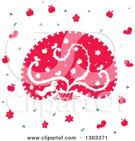 Clipart of a Seamless Pattern of a Happy Worm with Butterflies, Apples, Flowers and a Plant - Royalty Free Vector Illustration by Cherie Reve