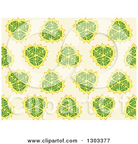 Clipart of a Seamless Pattern Background of Fruits - Royalty Free Vector Illustration by Cherie Reve