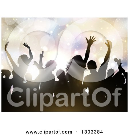 Clipart of Silhouetted Dancers in a Crowd Against Flares and Pastel Lights - Royalty Free Vector Illustration by KJ Pargeter