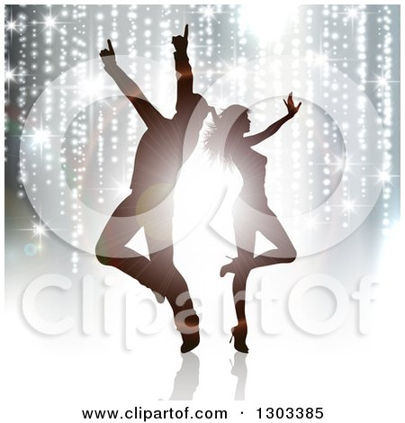 Clipart of Silhouetted Dancing Couple Against Flares and Trailing Lights - Royalty Free Vector Illustration by KJ Pargeter