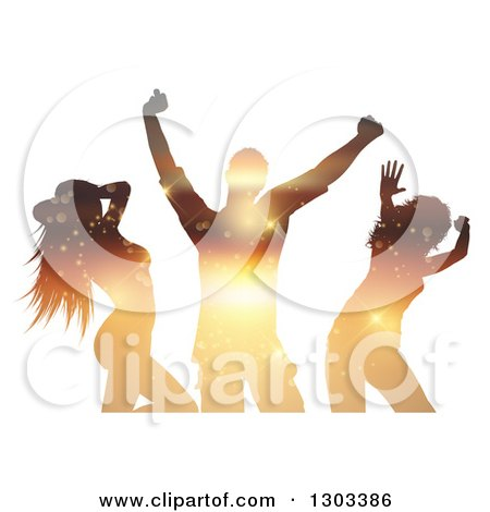 Clipart of Sunset Themed Sparkling Silhouetted Dancers on White - Royalty Free Vector Illustration by KJ Pargeter