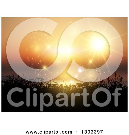 Clipart of a Magical Orange Ocean Sunset with Flares, the Sun and Silhouetted Plants - Royalty Free Vector Illustration by KJ Pargeter