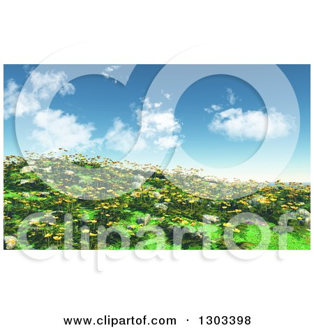 Clipart of a 3d Hillside with Grass, Buttercup and Daisy Flowers Against a Sky with Puffy Clouds - Royalty Free Illustration by KJ Pargeter