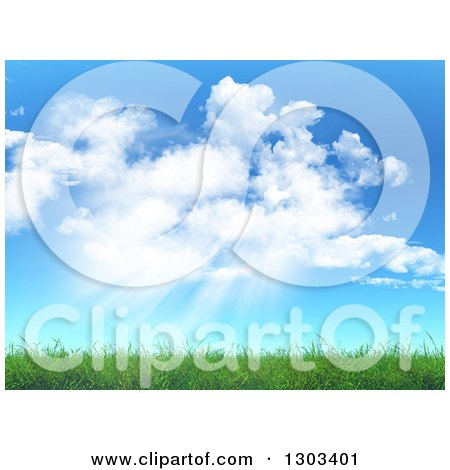 Clipart of a Background of Clouds and Sun Shining down on 3d Green Spring Grass - Royalty Free Illustration by KJ Pargeter