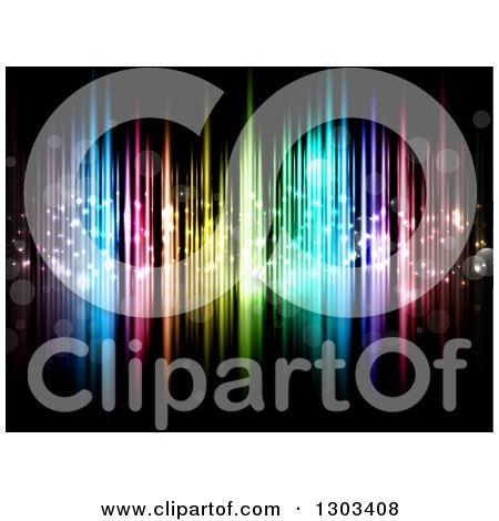 Clipart of a Background of Colorful Lights and Bokeh Flares on Black - Royalty Free Vector Illustration by KJ Pargeter
