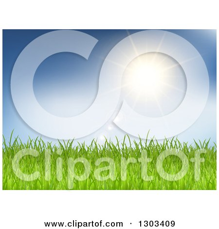 Clipart of a Sun and Flares over Green Grass and Blue Sky - Royalty Free Vector Illustration by KJ Pargeter