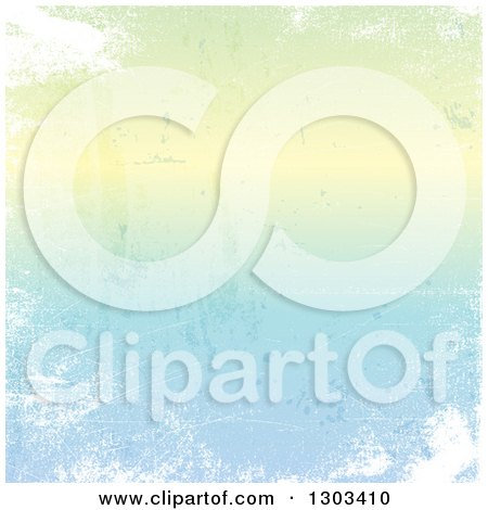 Clipart of a Distressed Gradient Pastel Green to Blue Background with White Grunge - Royalty Free Vector Illustration by KJ Pargeter