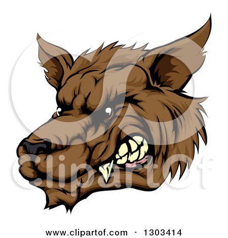 Clipart of a Growling Brown Wolf Head - Royalty Free Vector Illustration by AtStockIllustration