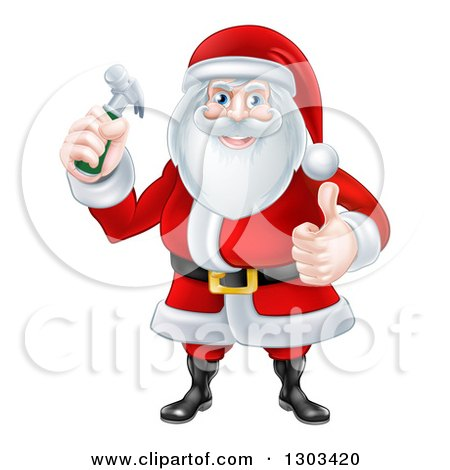 Happy Christmas Santa Claus Carpenter Holding a Hammer and Giving a Thumb up Posters, Art Prints