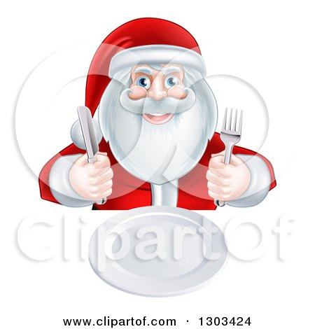 Clipart of a Happy Christmas Santa Claus Sitting with a Clean Plate and Holding Silverware - Royalty Free Vector Illustration by AtStockIllustration