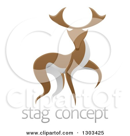 Clipart of a Walking Brown and White Stag Deer Buck over Sample Text - Royalty Free Vector Illustration by AtStockIllustration